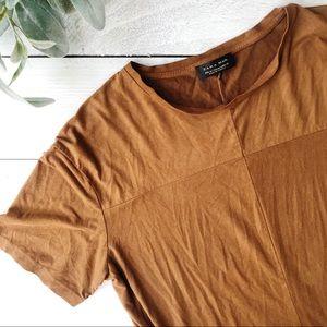 Zara Man Faux Suede Camel Color Tee Size Medium